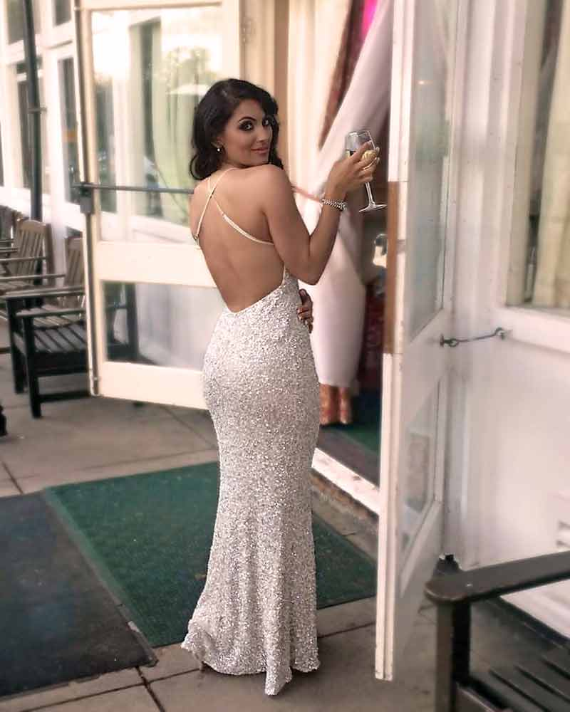 Ivory and Silver Sequin Engagement Party Dress
