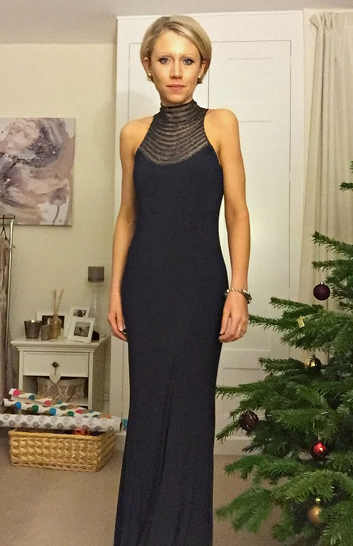 Welwyn Garden City: Graphite Beaded High Neck Jersey Long Evening Dress